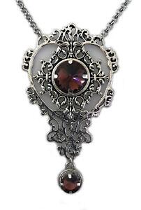 Art Nouveau Filigree Gothic Victorian Silver Necklace Pendant Jewelry Goth Stone