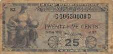 USA / MPC  25  Cents  ND.1951   M24  Series  481  Plate  82  Circulated banknote