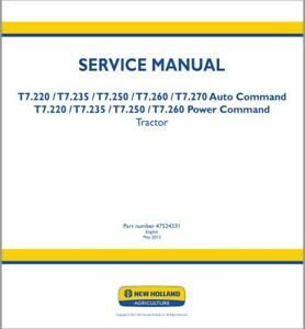 New Holland T7.220 / T7.235 / T7.250 / T7.260 / T7.270 Tractor Service Manual CD