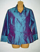 Anu by Natural Raw Silk Blouse Blue Iridescent Long Sleeve Button Front Size S