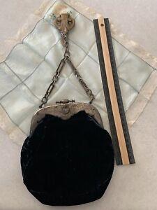 Lovely Victorian Edwardian Large Velvet Chatelaine Bag