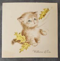 Kitten Cat Millions Birthday Wish Vintage 50s 1959 USA Greeting Card Mid Century