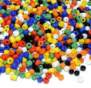 SB180 Bold Assorted Opaque 6/0 4mm Rondelle Glass Seed Bead Premium Mix 1oz