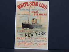 One Reproduction Postcard White Star Line Steam Ships