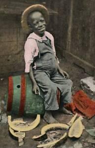 [22471] Little Black Boy Sitting on a Drum - ca Early 1900s