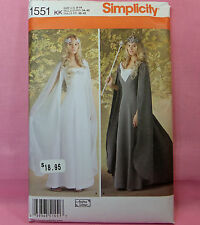 Simplicity 1551 Misses Fantasy Costume Long Layered Gown Flowing Sleeves Sz 8-14
