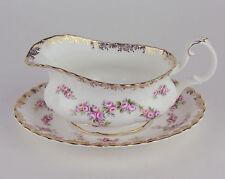 Gravy Boat + Tray Royal Albert Dimity Rose vintage bone china England