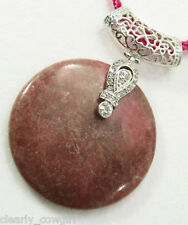 #5768 -- PINK ADJUSTABLE CORD NECKLACE RHODONITE ROUND PENDANT CRYSTAL BAIL