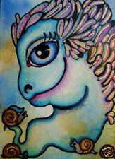 Luree FOUNDER artist of ACEO  ~ NUDE SNAIL ESCARGO art