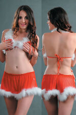 W3341 Red Christmas Sexy Mini Skirt & Bra Set