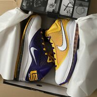 Nike Lebron 7 VII QS LAKERS 'Media Day' UK 13 US 14 Yellow Purple *WITH RECEIPT*