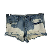 Sass & Bide Womens Shorts Size 25 Blue Tattered Denim Button Closure Acid