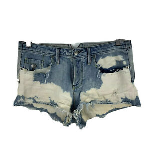 Sass & Bide Womens Shorts Size 25 Blue Tattered Denim Button Closure Acid 17.05