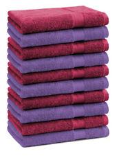 Betz 10 Toallas de cara 30x30 PREMIUM 100% algodón en rojo oscuro y morado