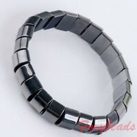 """1p 7""""L Stretchy Natural Magnetic Hematite Bracelet Rectangle Bead Wristband Gift"""