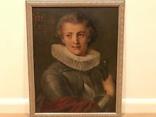 Antique 19th Century Continental Portrait of Man Gentleman Oil Painting on Wood