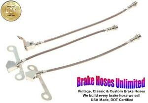 STAINLESS BRAKE HOSE SET Lincoln Continental 1965 Late, 1966 1967 1968 1969