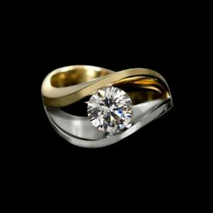 1.05cts Round Moissanite Engagement ring, Two tone yellow/white 14kt Gold ring