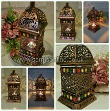 Vintage Tealight Lantern Candle Holder Moroccan Style Metal Arabian Traditional