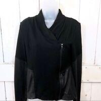 Jessica Simpson Womens Sz Small Black Vegan Leather Contrast Fiona Ponte Jacket