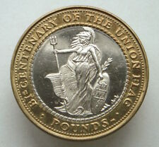 Gibraltar, 2 Pounds, 2001, Bicentenary of the Union Jack Flag, bi-metal, aUNC