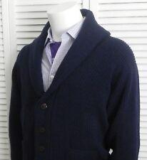 NEW Mens SIZE XXL 2XL ALPACA Navy Blue Ribbed Shawl Collar Sweater Cardigan PERU