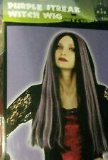 NEW Adult Women's Purple Streak Long Black Witch Wig - FREE SHIP