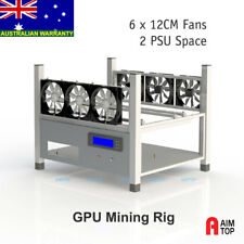 6 GPU Mining Rig / Case for Crypto Currency - 6 Fans included, 2 Spaces for PSU