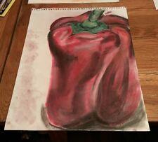 vintage large colored charcoal sketch red bell pepper Veggie Vegetable Vegan