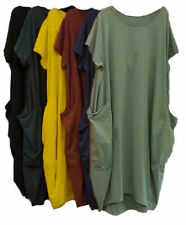 Plus Size Dress Midi Beach Holiday Women Short Sleeve Lagenlook Summer Dresses
