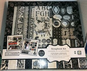 COLORBOK SCRAPBOOK KIT, BLACK & WHITE WEDDING, ALBUM, 18 PAPERS, STICKERS PLUS