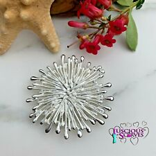 MAGNETIC BROOCH SCARF PIN CLIP, SILVER STARBURST DESIGN NICKLE & LEAD FREE