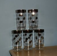 "(5) VTG BARWARE DOROTHY THORPE HIGHBALL GLASSES SILVER BAND POLKA DOTS 5.5"" TALL"