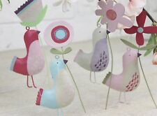 Gisela Graham œuf de Pâques Chasse pastel étain oiseau avec fleur décoration x 4
