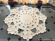 "Hand Crocheted Area Rug 60"" Round Handmade Crochet Lace Doily Jute Vintage New"