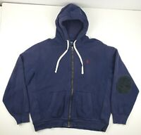 POLO Ralph Lauren Vintage Full Zip Up Hoodie Thick Cotton Elbow Patch Men's XL