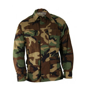 Woodland Camouflage BDU Tactical Military Uniform 4-Pocket Coat Shirt Jacket