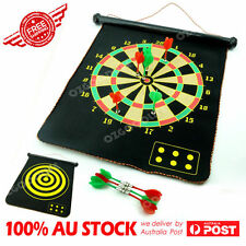 "17"" Magnetic Rollup Dart Board w/ 6 Darts Large Double Side Dartboard Game Xmas"