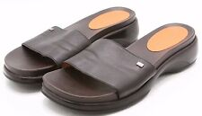 Tommy Hilfiger Womens Sandals Size 8 Brown Leather Slides Heels Comfort EUC