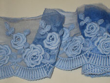 """1 yard 4 1/2"""" width royal blue color cotton&tulle lace trim with floral pattern"""