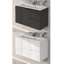 Mobile arredo da bagno 80 100 lavabo ceramica bianco lucido grigio talpa|ywd