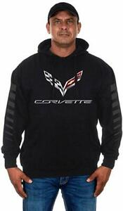 Corvette Pullover Hoodie Men's Black Sweatshirt Printed Logo COR9P3RAC8BLK