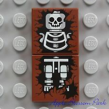 NEW Lego Brown SKELETON TILE SET - 2x2 Printed Minifg Halloween Head Grave 4766