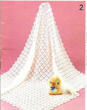 H0002 Vintage Crochet Pattern, Baby Blanket/Shawl 3 ply 280 g quick easy Copy