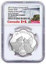 2017 Canada Master Land Timber Wolf Scalloped Silver $20 NGC PF70 UC ER SKU51581