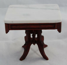 Dollhouse Miniature Victorian Eastlake Table Mahogany Marble Top Artisan Signed