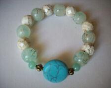 Glass Bracelet, Buy 2 Get 3Rd Free New Blue Magnesite & Light Aqua Frosted