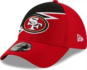 San Francisco 49ers Hat New Era 39Thirty Football Flex-Fit Cap M/L Red Black