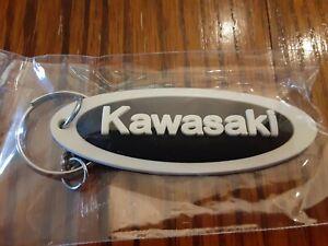 "Kawasaki Motorcycle Keychain Key Chain white black 2.75"" rubber fob"
