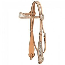 Tough 1 Light Oil Browband Headstall w/Spotted Hair Overlay Horse Size 45-630